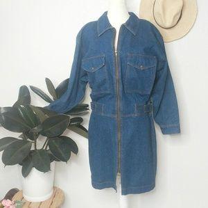 80-80s Vintage Denim Jean Zip Up Mini Dress